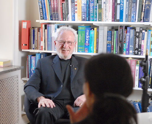 Alan J. Heeger at an interview in Stockholm