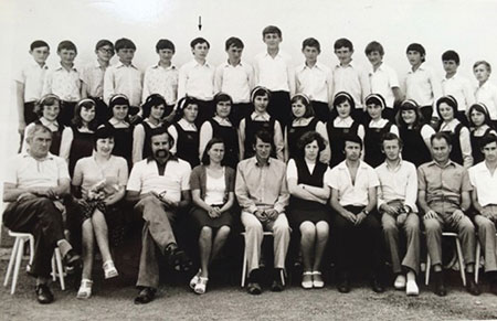 Stefan Hell with grade eight schoolmates and teachers of the German division of elementary school in Santana, Romania in 1977.