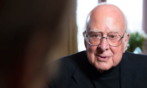 Peter Higgs during the interview with Nobelprize.org