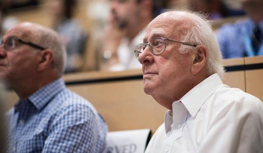 Portrait of Peter Higgs.
