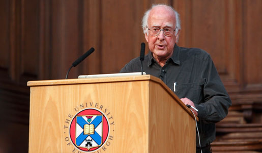 Professor Peter Higgs speaking at the University of Edinburgh, Scotland.