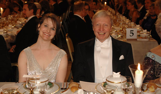 Jules A. Hoffmann and Mrs Nancy Joy Riess, wife of Physics Laureate Adam G. Riess, at the Nobel Banquet