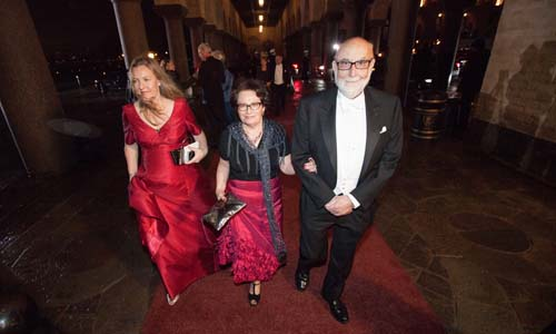 François Englert arrives at the Nobel Banquet at the Stockholm City Hall on 10 December 2013 together with his wife Mrs Mira Nikomarow.