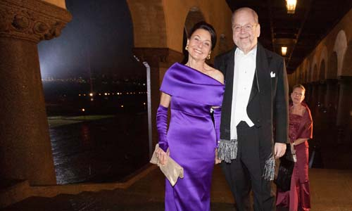 James E. Rothman arrives at the Nobel Banquet in the Stockholm City Hall together with his wife, Mrs Joy Hirsch, 10 December 2013