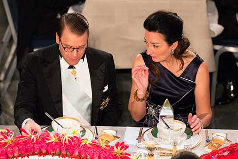 Sweden's Prince Daniel and May-Britt Moser at the table of honour at the Nobel Banquet.
