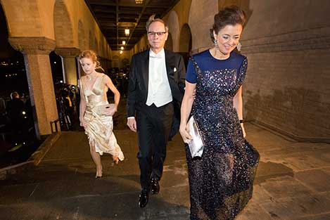 Jean Tirole arrives at the Nobel Banquet together with his wife, Mrs Nathalie Tirole, 10 December 2014.
