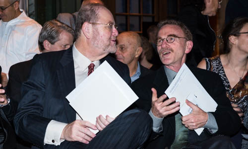 James Rothman and Randy Schekman in an animated discussion at the Nobel Museum in Stockholm