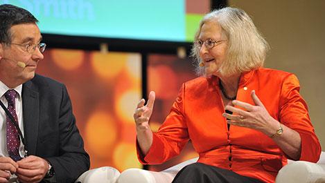 Elizabeth H. Blackburn during the 2014 Nobel Week Dialogue, on 9 December 2014.