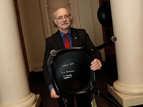 Nobel Laureate F. Duncan M. Haldane and the autographed chair