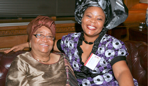 Ellen Johnson Sirleaf, President of Liberia, and Leymah Gbowee