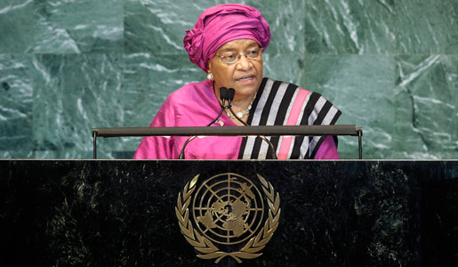 Ellen Johnson Sirleaf, President of Liberia, addresses the general debate of the sixty-fifth session of the General Assembly
