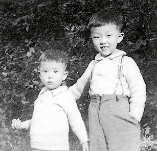 Charles Kao in 1938, with his younger brother