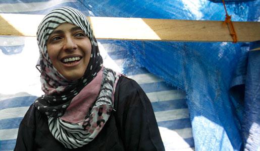 Tawakkol Karman, in Sanaa, Yemen, in a tent during a sit-in, on 5 October, 2011