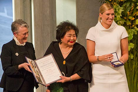 Setsuko Thurlow and Beatrice Fihn, receive the Nobel Peace Prize Medal and Diploma.