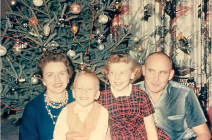 Mom, me, Pam and Dad, Christmas 1960.