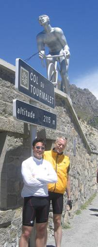 With Jason (left) after climbing the Col du Tourmalet in July 2005.