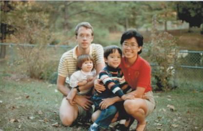 Early days in Durham, North Carolina. From the right: Tong Sun, Jason, Megan and me.