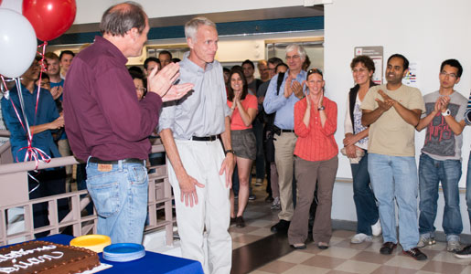 Brian K. Kobilka mis greeted by staff in the laboratory