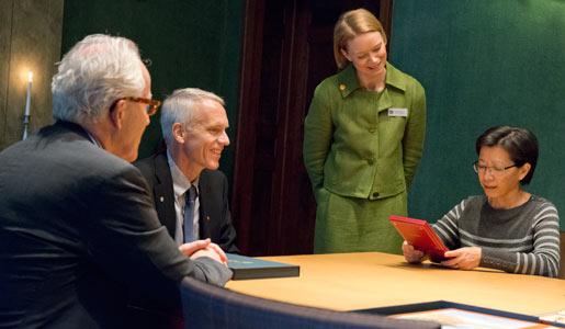 Brian K. Kobilka and his wife Tong Sun Kobilka visit the Nobel Foundation on 11 December 2012