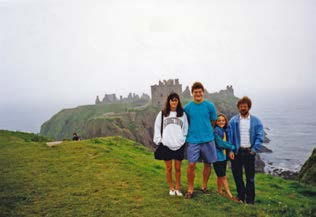 Karin, Jonathan, Liz and Mike at Dunottar Castle in Aberdeenshire.