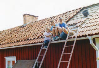 Putting on a new roof on our summer house in Sweden.