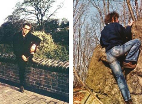 Harvey Court, Gonville. Mike bouldering.