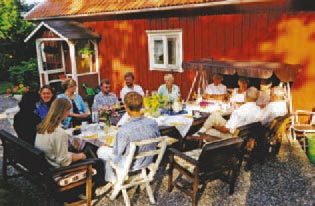 Dinner with our family and my wife's relatives at the Swedish summer house.