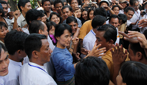 Suu Kyi greeting supporters from Bago State on 14 August 2011, on her first political trip to Bago since her release from house arrest in 2010