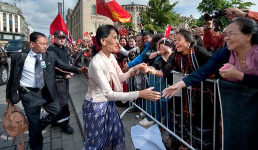 Aung San Suu Kyi arrives in Oslo