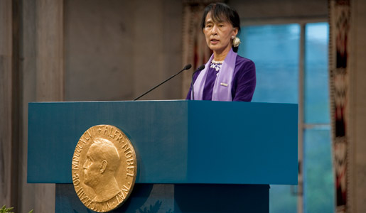 Aung San Suu Kyi  Facts  Nobelprizeorg Aung San Suu Kyi Delivering Her Nobel Lecture In The Oslo City Hall English Short Essays also Where Is A Thesis Statement In An Essay Best Business School Essays