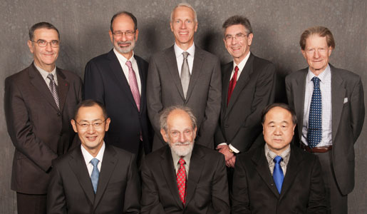 The 2012 Nobel Laureates assembled for a group photo during their visit to the Nobel Museum in Stockholm, 6 December 2012. Back row, left to right: Nobel Laureate in Physics Serge Haroche, Laureate in Economic Sciences Alvin E. Roth, Nobel Laureates in Chemistry Brian K. Kobilka and Robert J. Lefkowitz, and Nobel Laureate in Physiology or Medicine Sir John B. Gurdon. Front row, left to right: Nobel Laureate in Physiology or Medicine Shinya Yamanaka, Laureate in Economic Sciences Lloyd S. Shapley and Nobel Laureate in Literature Mo Yan. Not in photo: Nobel Laureate in Physics David J. Wineland.