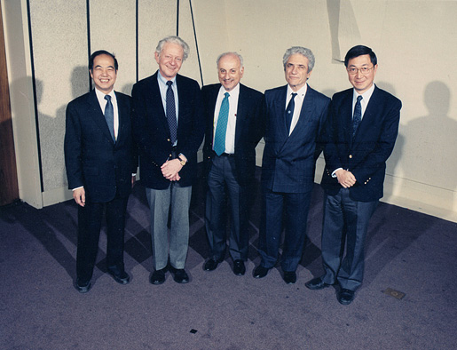 Nobel Laureates in Physics assembled at Brookhaven National Laboratory