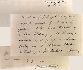 Letter from August Krogh to Göran Liljestrand