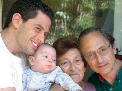 Four generations. Daniel, Barak, Gertrude and Michael Levitt in Stanford, 2003.