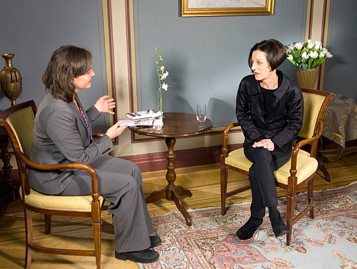 Herta Müller during the interview with Nobelprize.org.