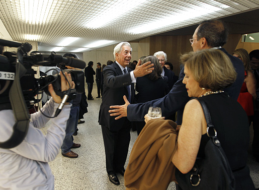 Mario Vargas Llosa is congratulated for the 2010 Nobel Prize in Literature