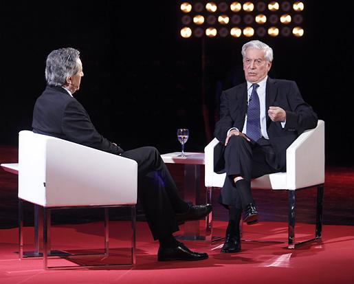 Mario Vargas Llosa at an interview