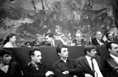 Simone de Beauvoir, Jean Paul Sartre, Mario Vargas Llosa and Daniel Mayer