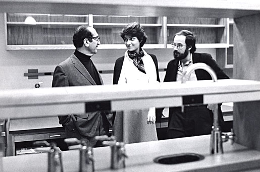 Salvador Luria with Nancy Hopkins and David Baltimore at the MIT Cancer Center