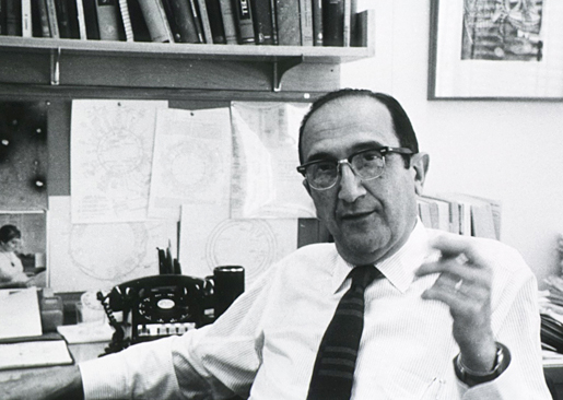 Salvador Luria in his office at MIT