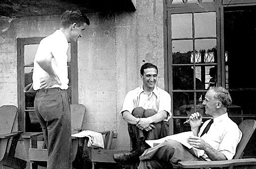 Max Delbruck, Salvador Luria, and Frank Exner relaxing