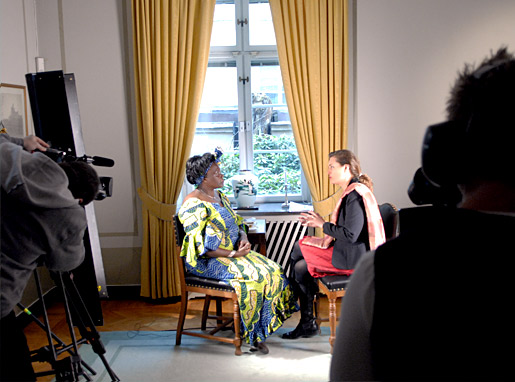 Wangari Maathai during the interview at the Nobel Foundation