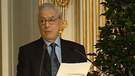 Mario Vargas Llosa delivering his Nobel Lecture.