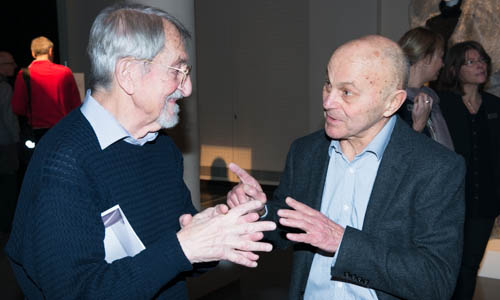 Chemistry Laureate Martin Karplus (left) and Eugene Fama (right) have a talk at the Nobel Museum in Stockholm