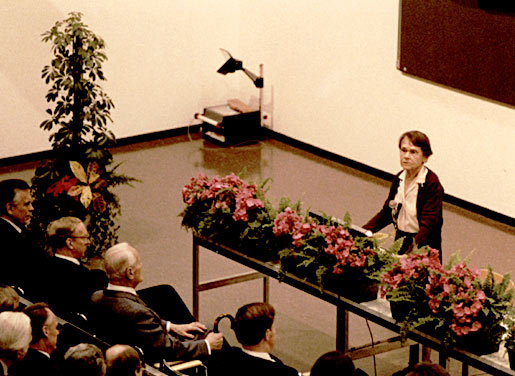 Barbara McClintock delivering her Nobel Lecture