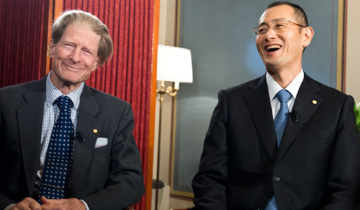 Sir John B. Gurdon (left) and Shinya Yamanaka (right) during their interview with Nobelprize.org