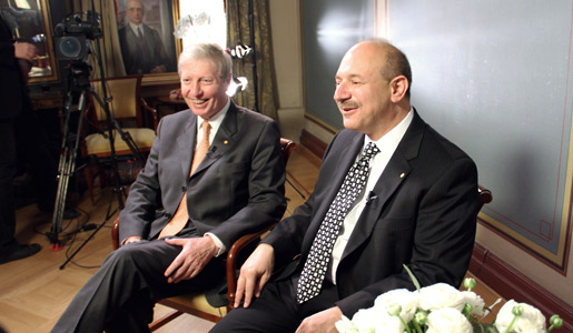 Jules A. Hoffmann (left) and Bruce A. Beutler (right) during their interview with Nobelprize.org