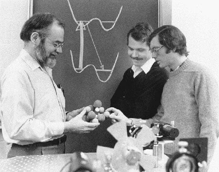 Albert J. Sievers III, Andy Chraplyvy, and me at Cornell studying the ReO-4 molecule in a crystalline model to understand its spectral hole-burning mechanism.