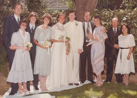 Wedding party, L-R: Burr (best man) and Barb Stewart, Sharon's brother Doug, her sister Debra, Sharon, me, Michel and Ruth Stein, William A. (father) and Esther Moerner (stepmother).