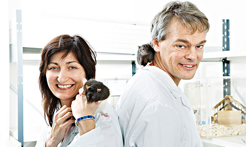 May-Britt and Edvard I. Moser in the laboratory. Photo: Geir Mogen/NTNU.